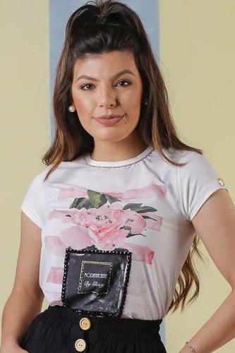 T-shirt Perfume Com Bordados Manual Em Pedraria Moda Conforto