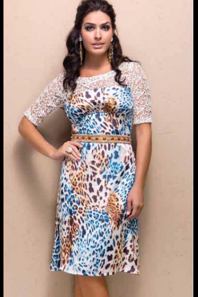 Vestido Animal Print com Detalhe em Renda Moda Evangélica