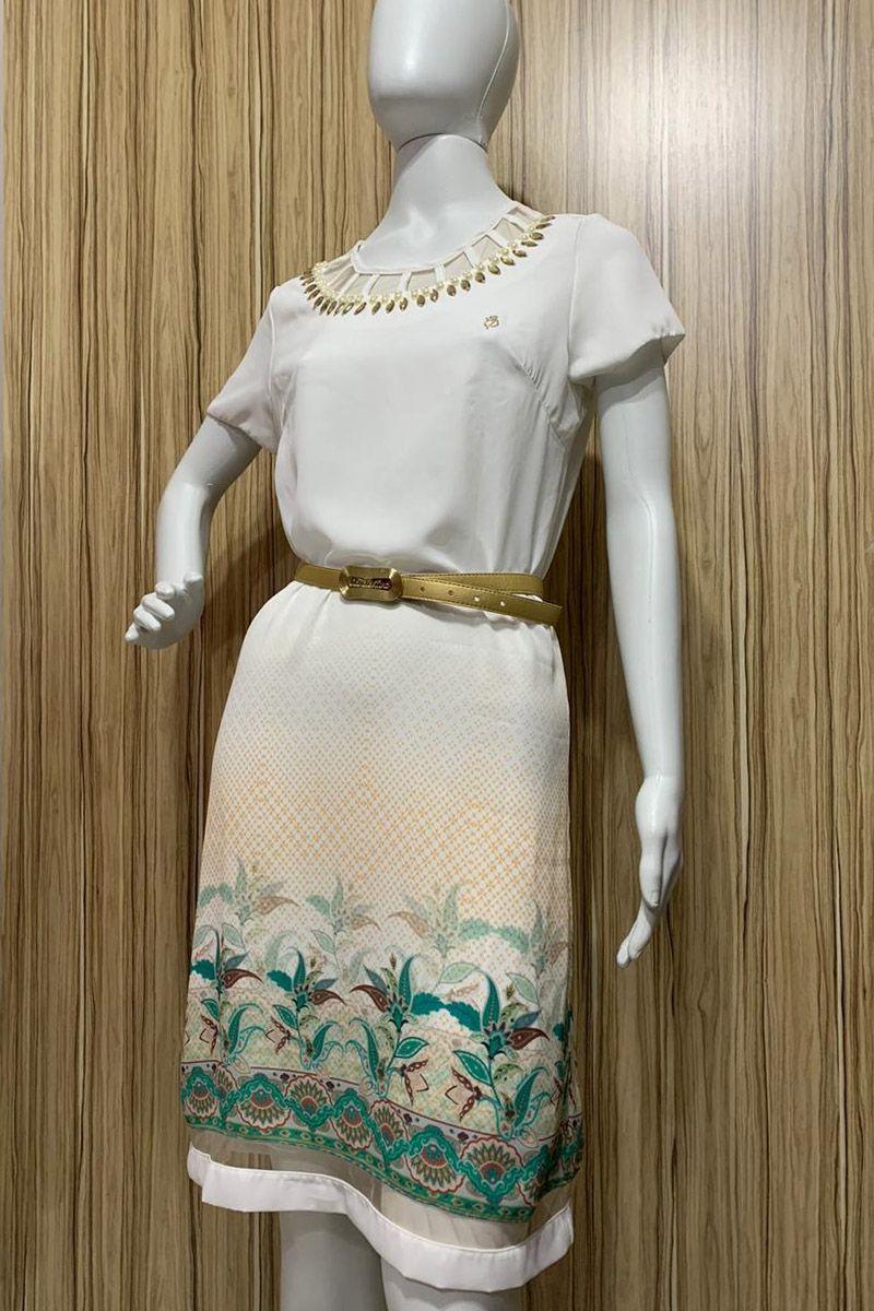 Vestido com Tule e Barrado Estampado Via Tolentino Moda Evangélica