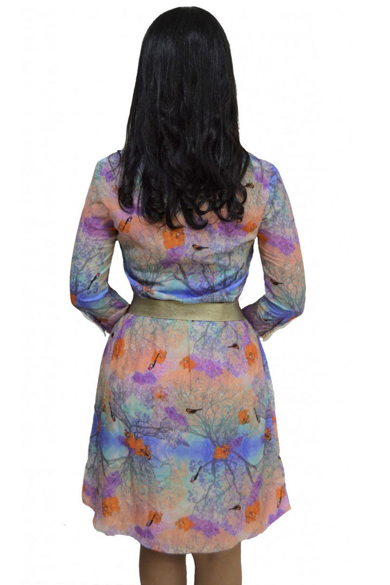Vestido Crepe com Seda Estampado Zunna Ribeiro Moda Evangélica