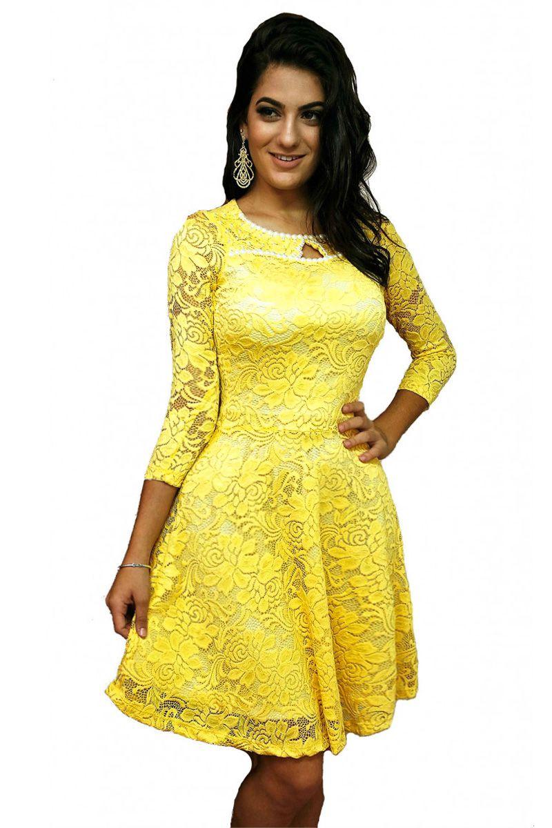 Vestido Godê Renda Amarelo Mulata Café Moda Evangélica