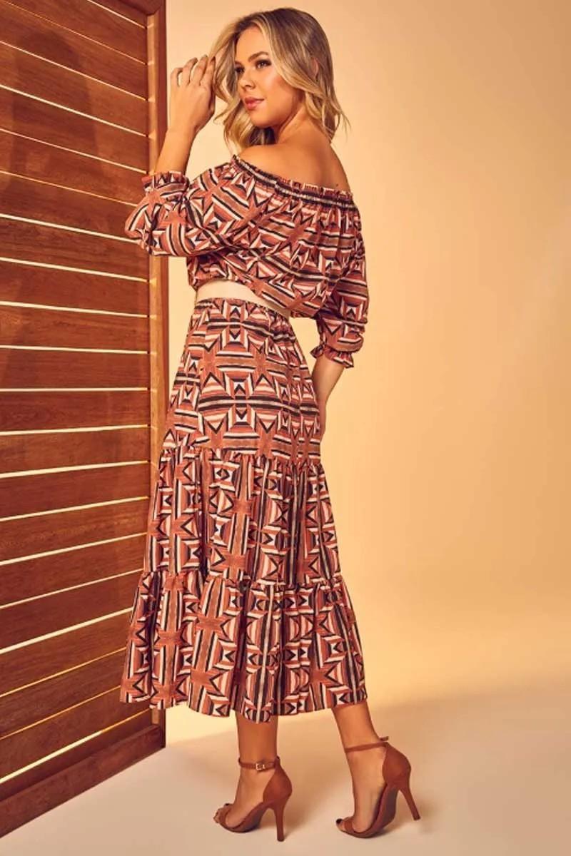 Vestido Estampado Com Cinto Via Tolentino