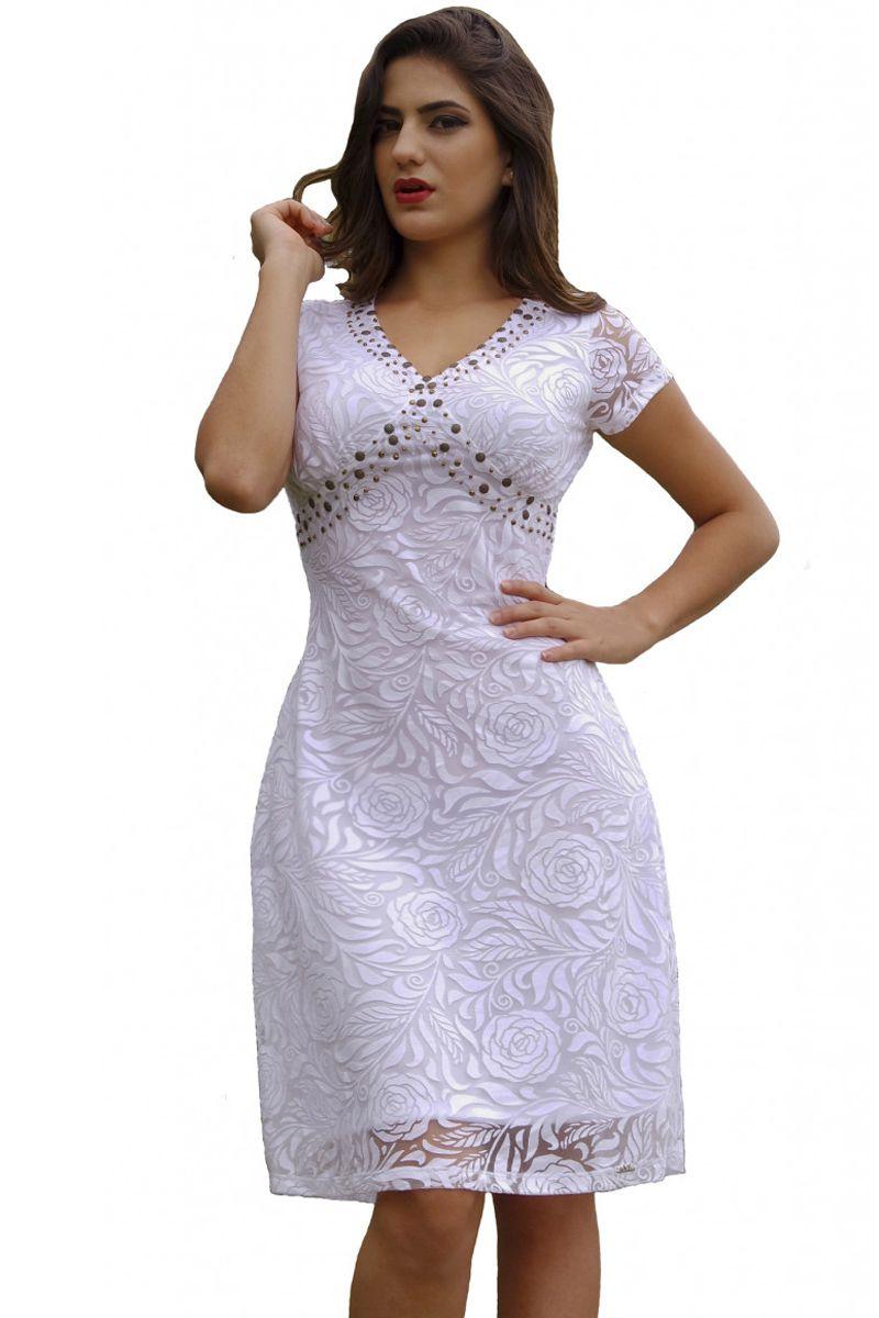 Vestido Evasê Branco Mulata Café Moda Evangélica