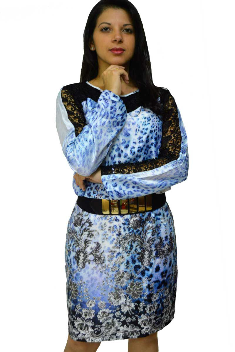 Vestido Evasê em Seda e Renda Via Karuso Moda Evangélica
