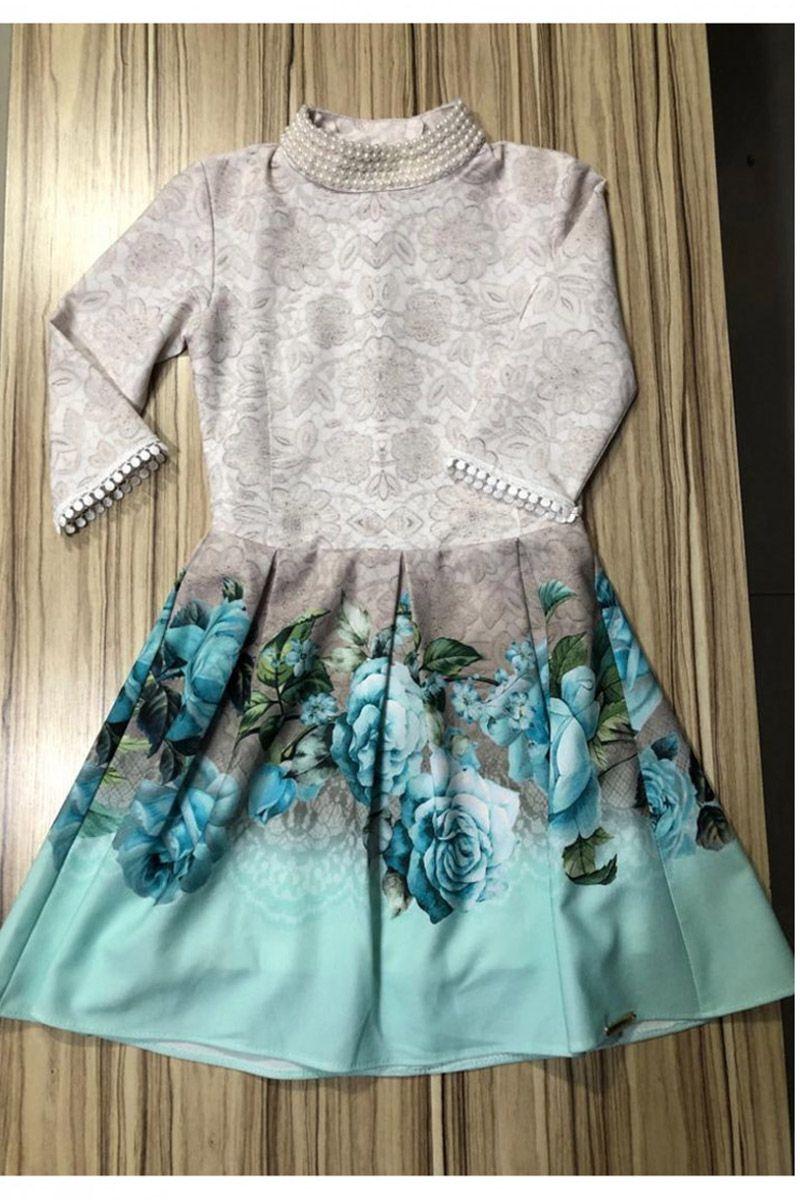 Vestido Infantil Crepe Sublime Barrado Puro Sharmy Moda Evangélica | Bela Kids