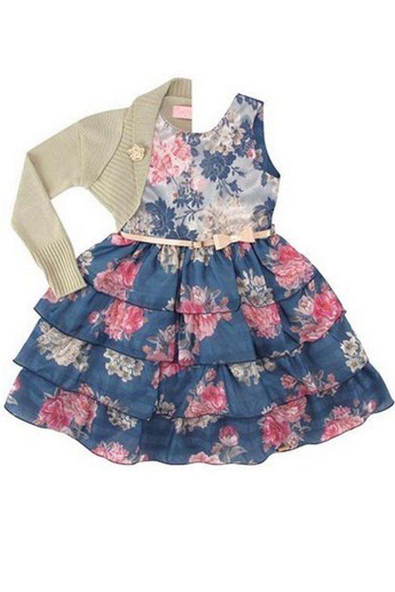 Vestido Infantil Renda e Babados Moda Infantil