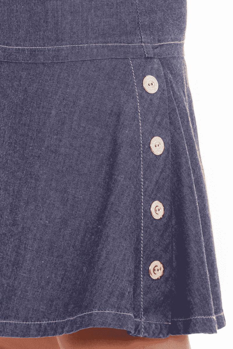 Vestido Jeans Evasê com Bordado nas Mangas Via Tolentino Moda Evangélica