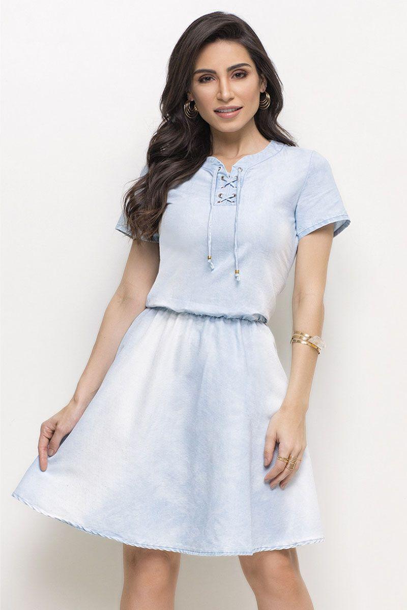 Vestido Jeans Evasê Elástico na Cintura Laura Rosa