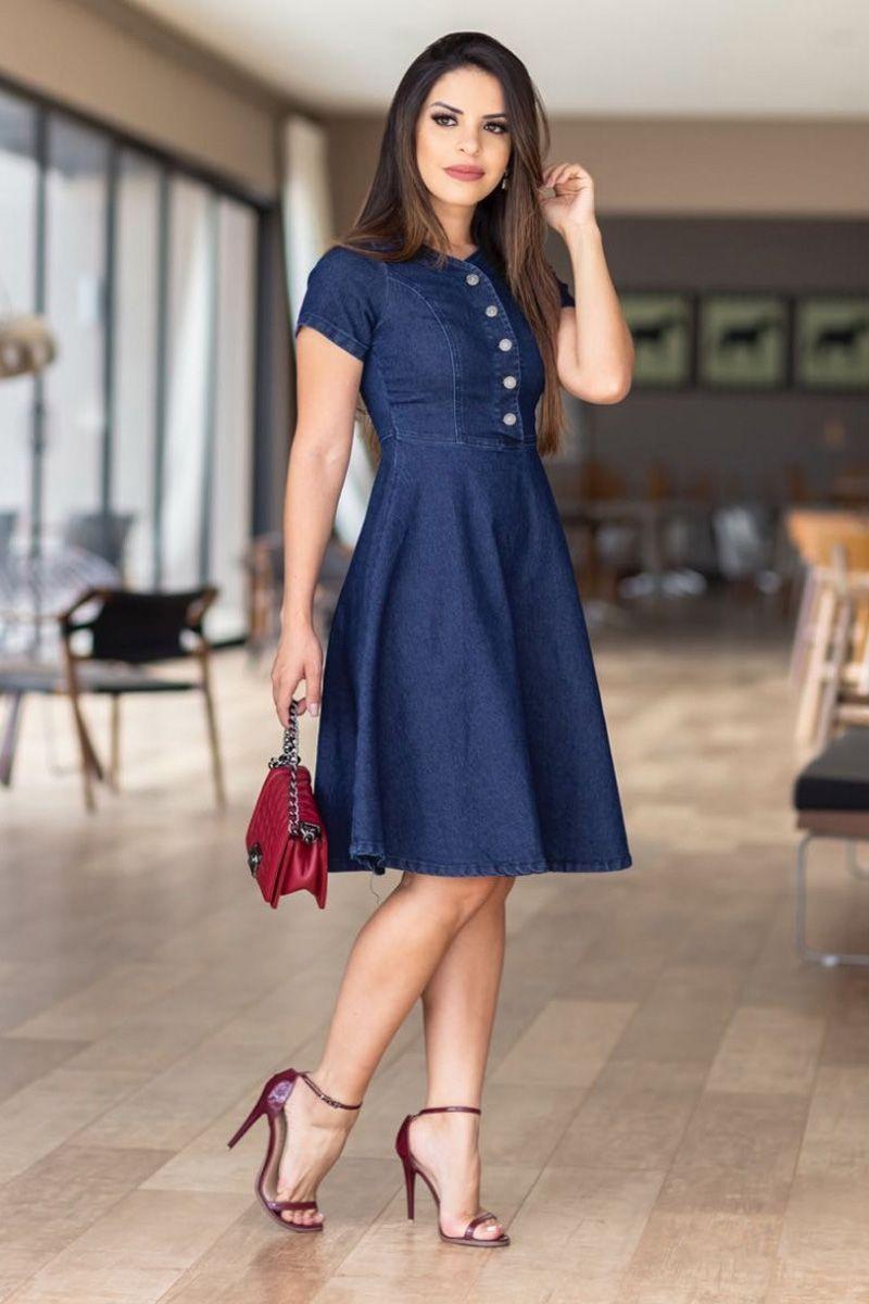 Vestido Jeans Godê Moda Evangélica