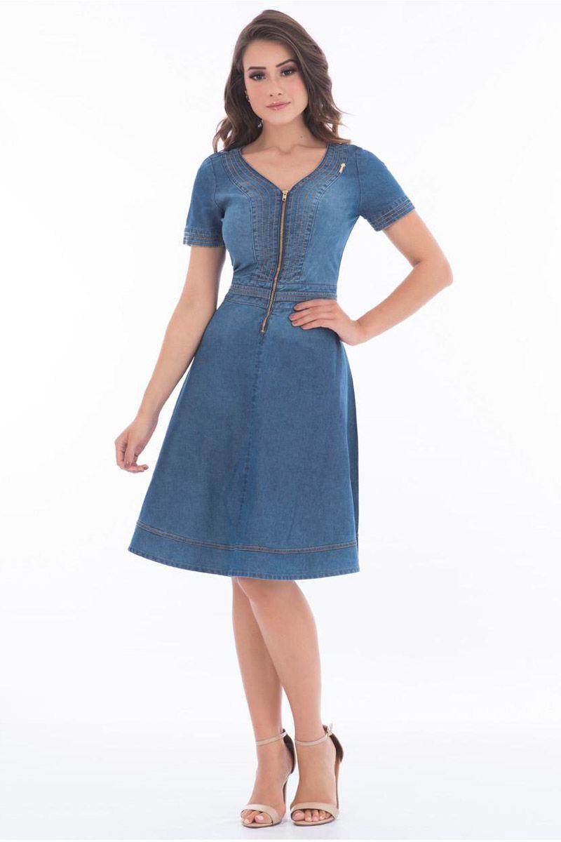 Vestido Jeans Lady Like Com Zíper Frontal Via Tolentino