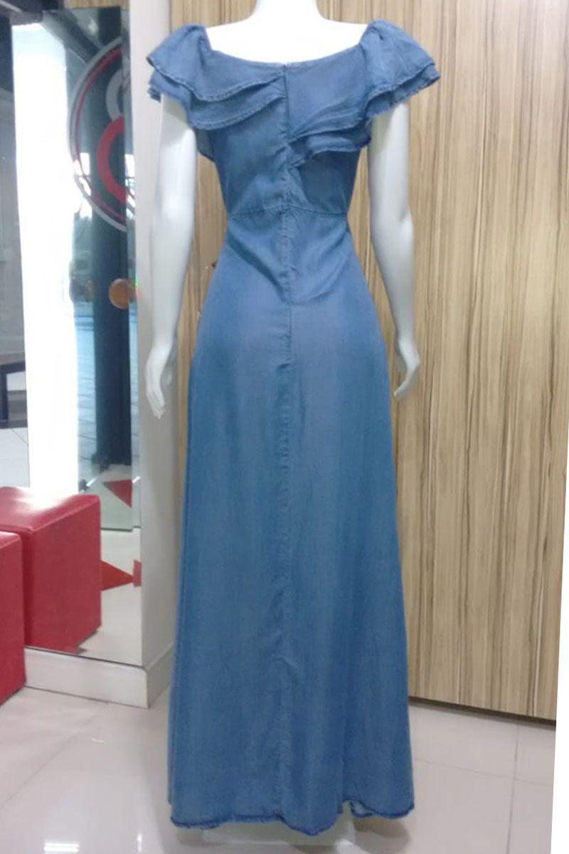 Vestido Jeans Longo Ciganinha Moda Feminina