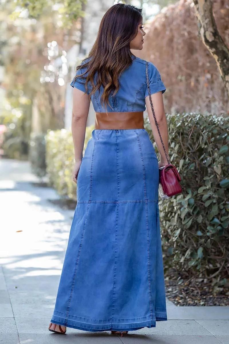 Vestido Jeans Longo Com Cinto Moda Evangélica