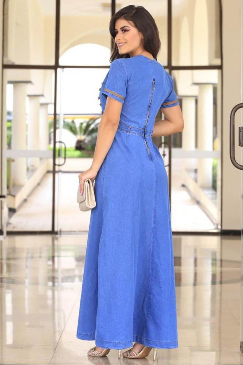 Vestido Jeans Longo Com Detalhe em Botões Moda Evangélica