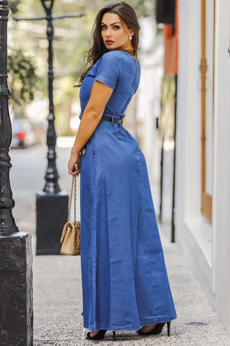 Vestido Jeans Longo Com Fendas Frontais