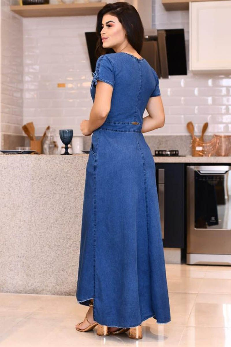 Vestido Jeans Longo Com Zíper Frontal Moda Evangélica
