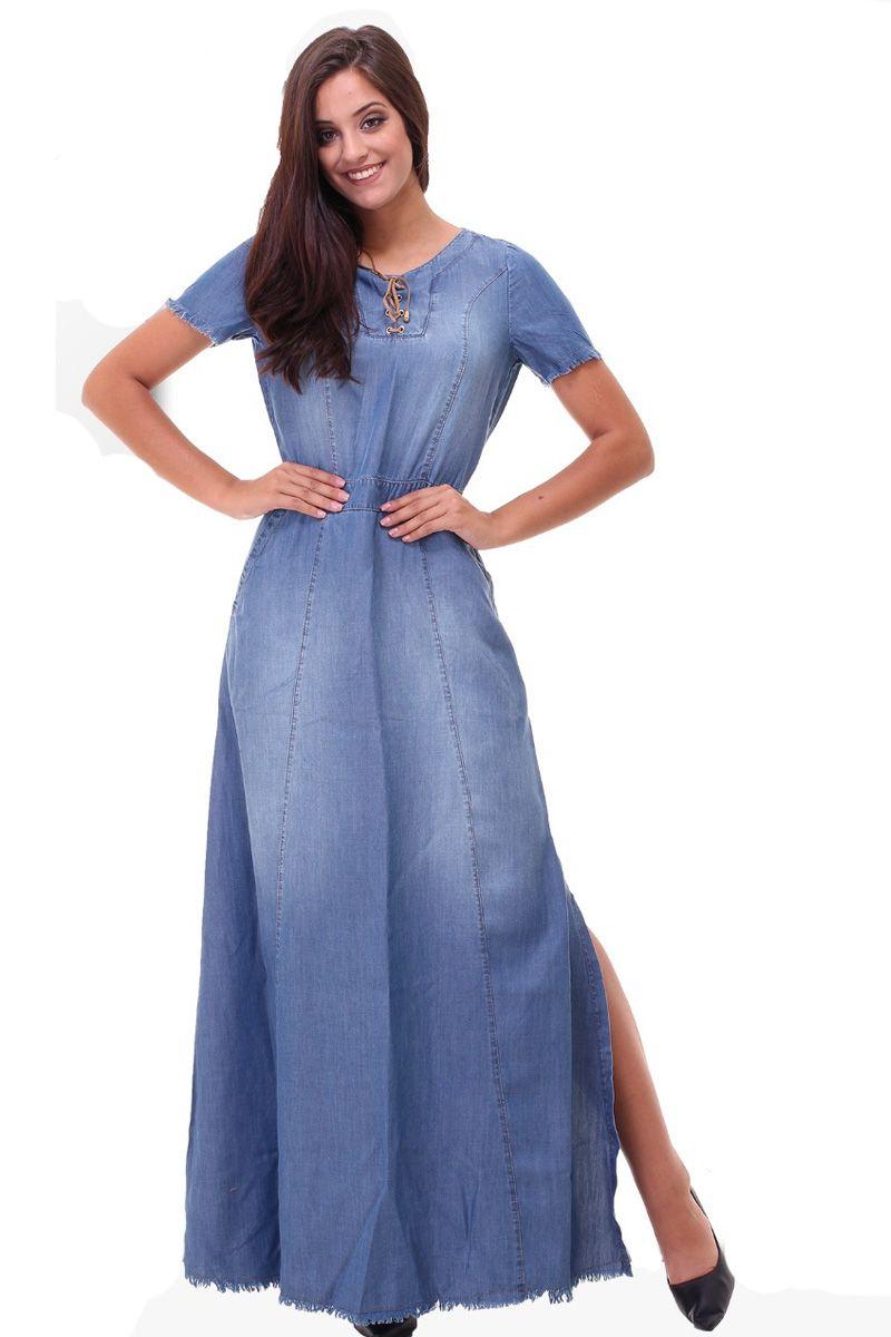 Vestido Jeans Longo Fenda Lateral Base Seth Moda Evangélica