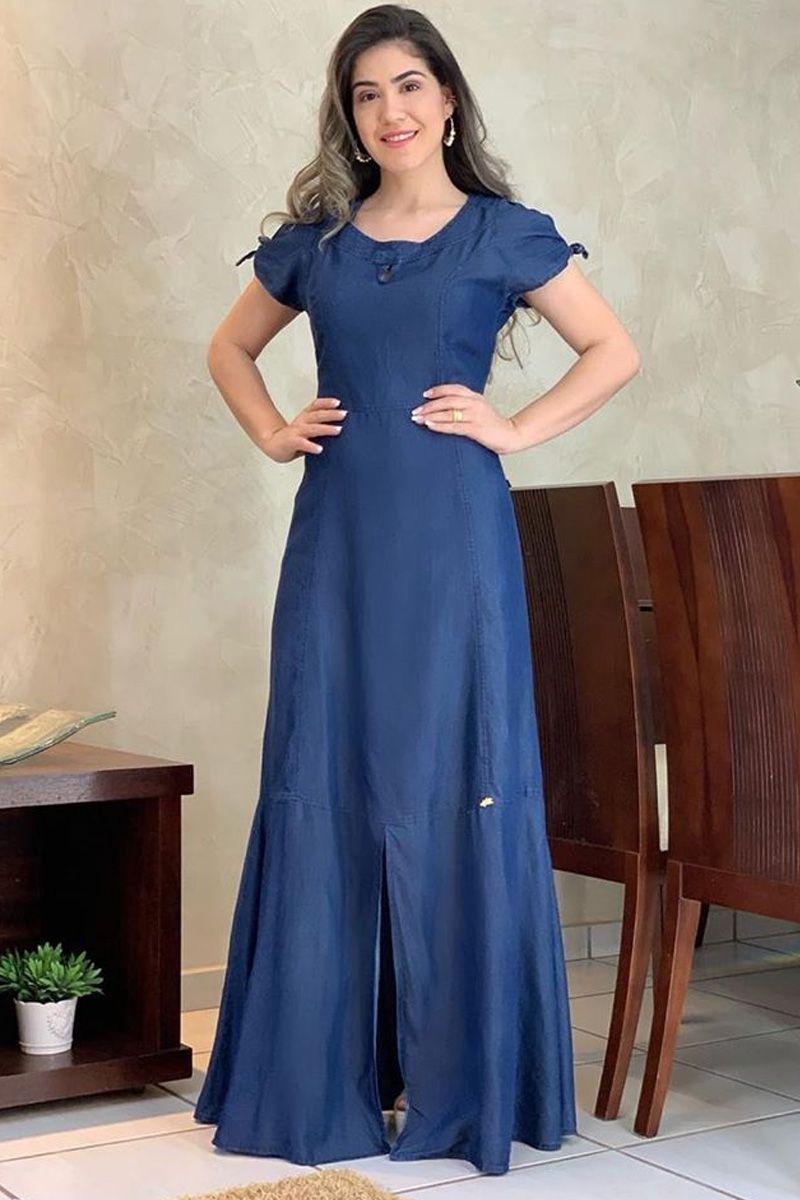 Vestido Jeans Longo Moda Evangélica