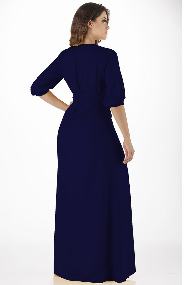 Vestido Longo Azul Marinho em Viscose Via Tolentino Moda Evangélica