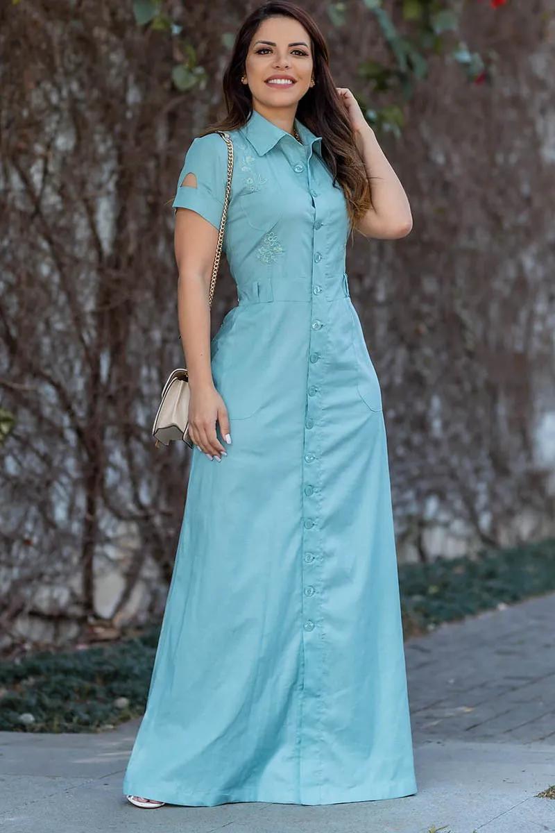 Vestido Longo Com Botões Frontais Moda Evangélica