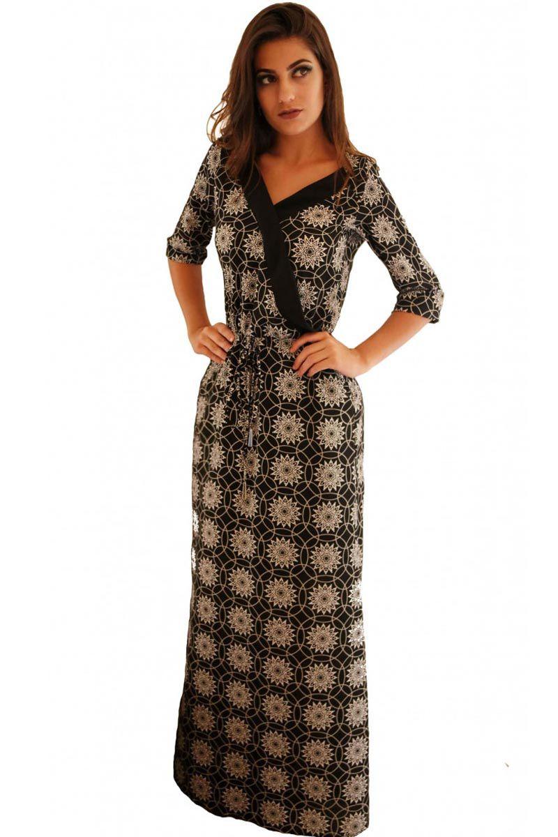 Vestido Longo Estampado Mulata Café Moda Evangélica