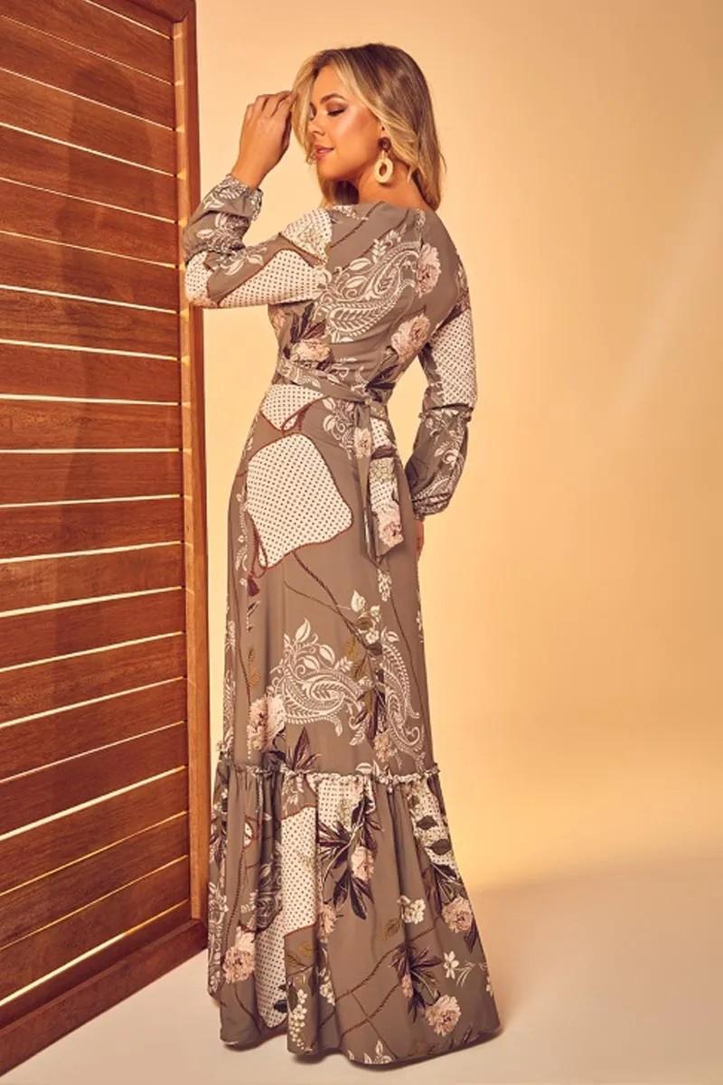 Vestido Longo Estampado Via Tolentino
