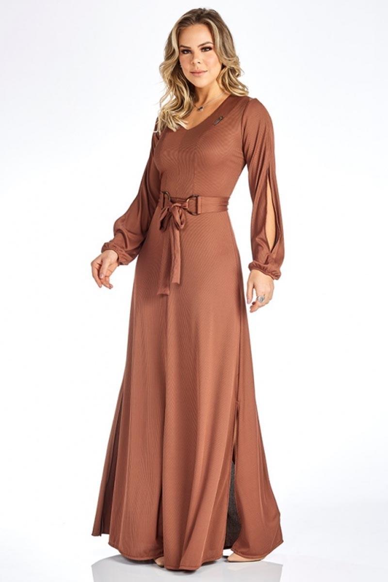 Vestido Longo Marrom Com Fendas Via Tolentino