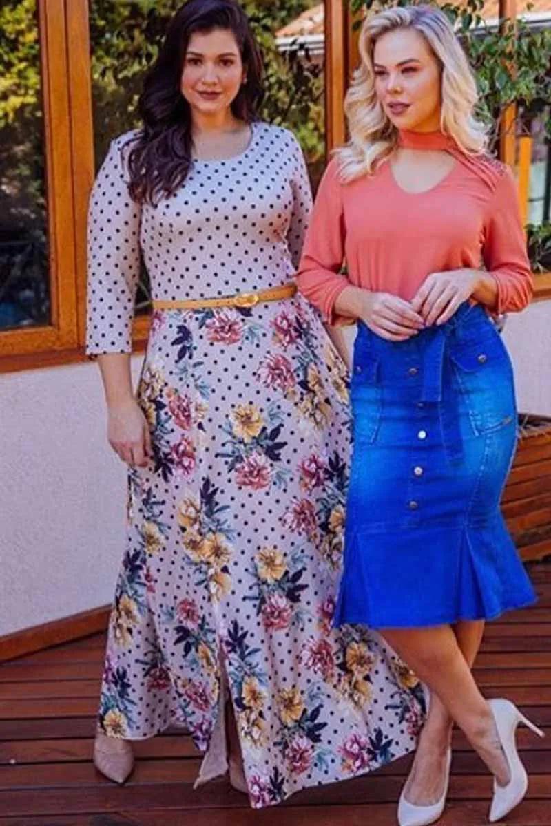 Vestido Longo Poá Com Estampa Floral Na Saia Via Tolentino