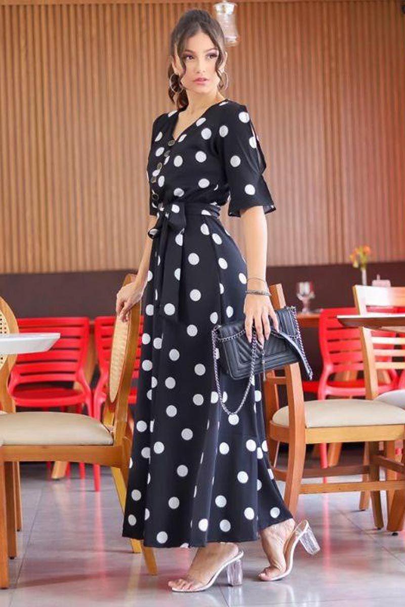 Vestido Longo Preto Poá Moda Evangélica