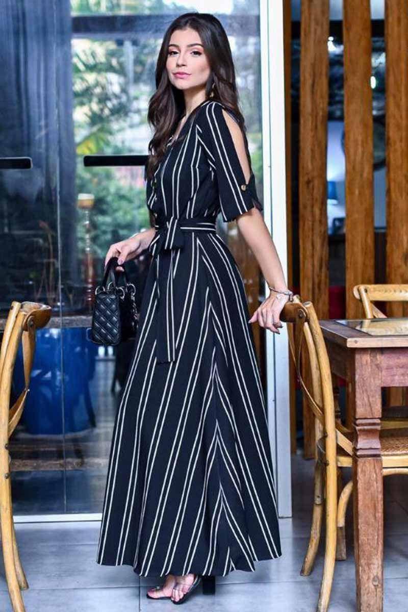 Vestido Longo Preto Listras Moda Evangélica