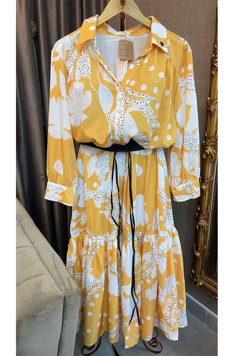 Vestido Midi Amarelo Estampa Folhagens Via Tolentino