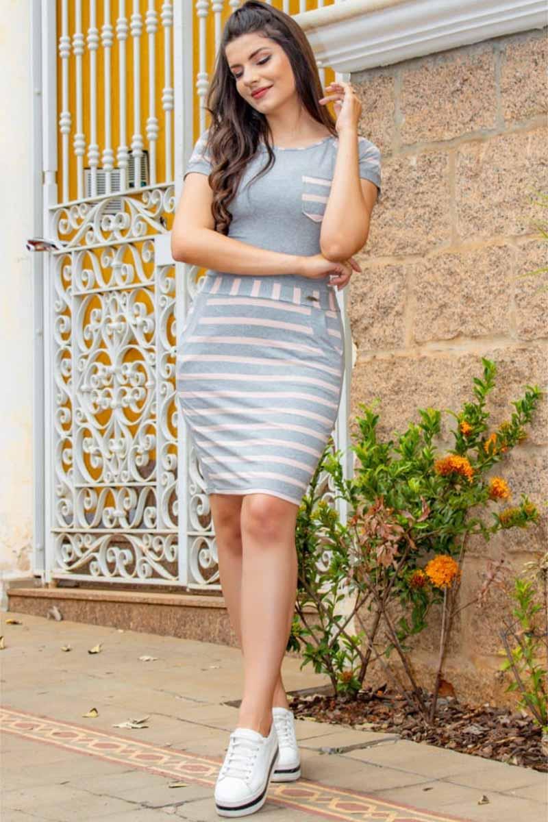 Vestido Tubinho em Malha Viscolycra Listrado Moda Evangélica