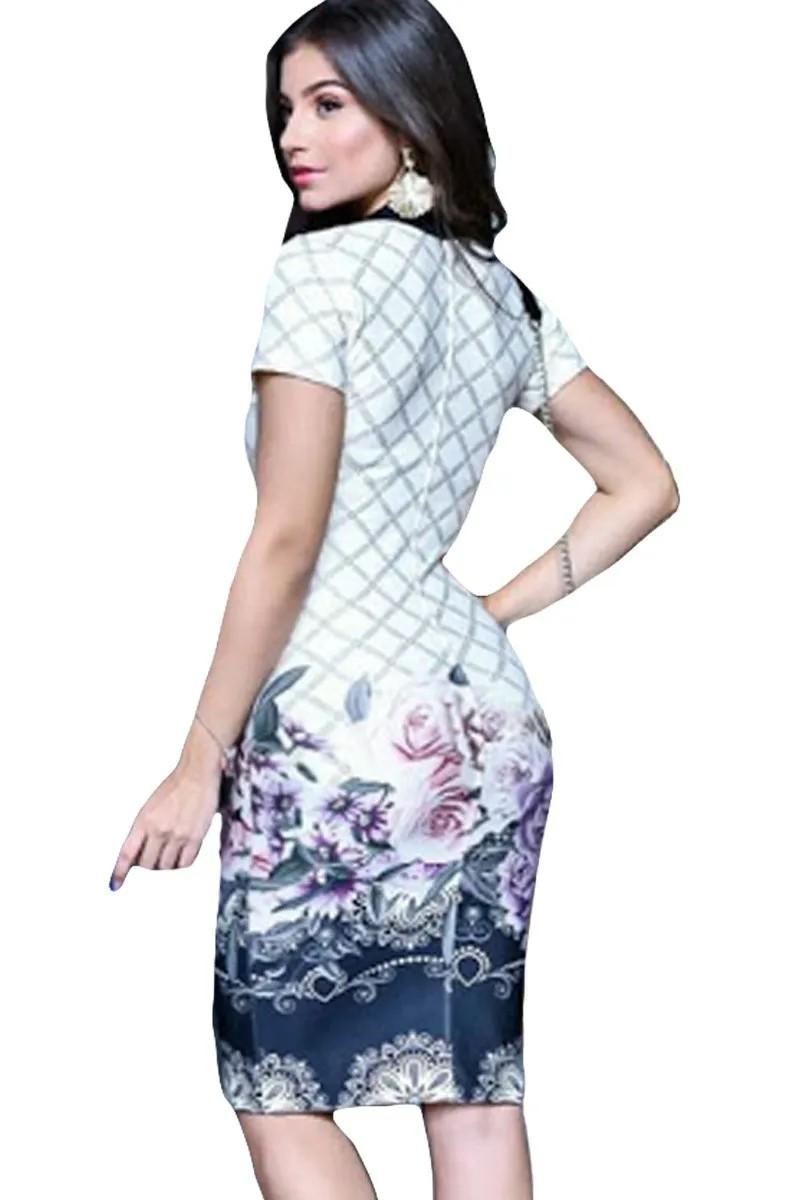 Vestido Tubinho Floral Poá  Moda Evangélica