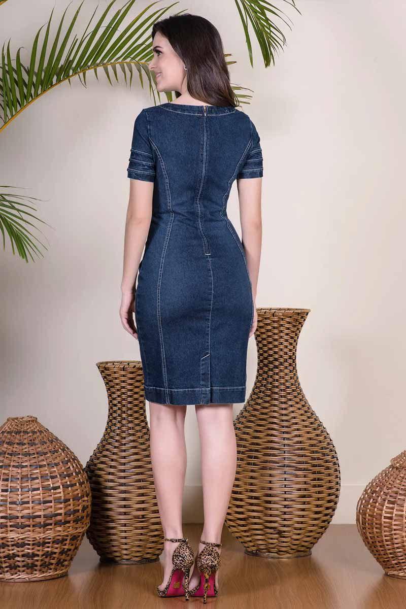 Vestido Tubinho Jeans com Detalhe Argola no Decote Via Tolentino