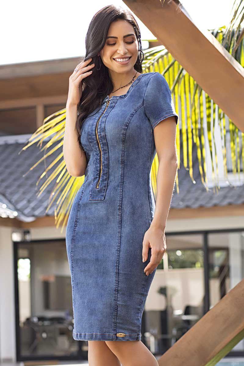 Vestido Tubinho Jeans com Zíper Frontal Laura Rosa Moda Evangélica