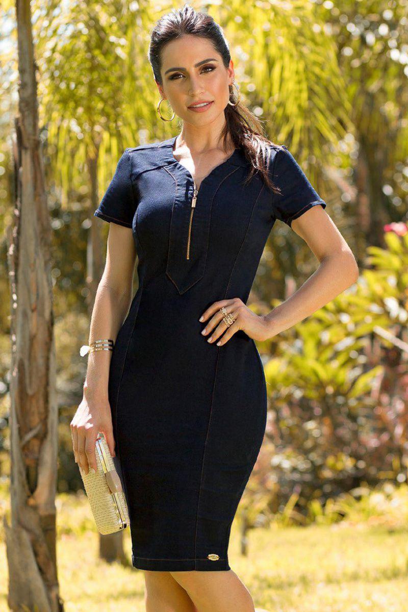 Vestido Tubinho Jeans Escuro com Elastano Laura Rosa Moda Evangélica