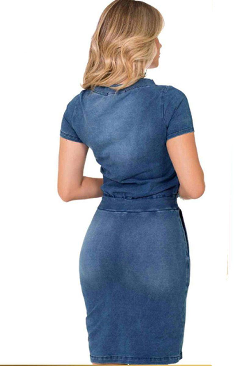 Vestido Tubinho Jeans Rowan Moda Evangélica