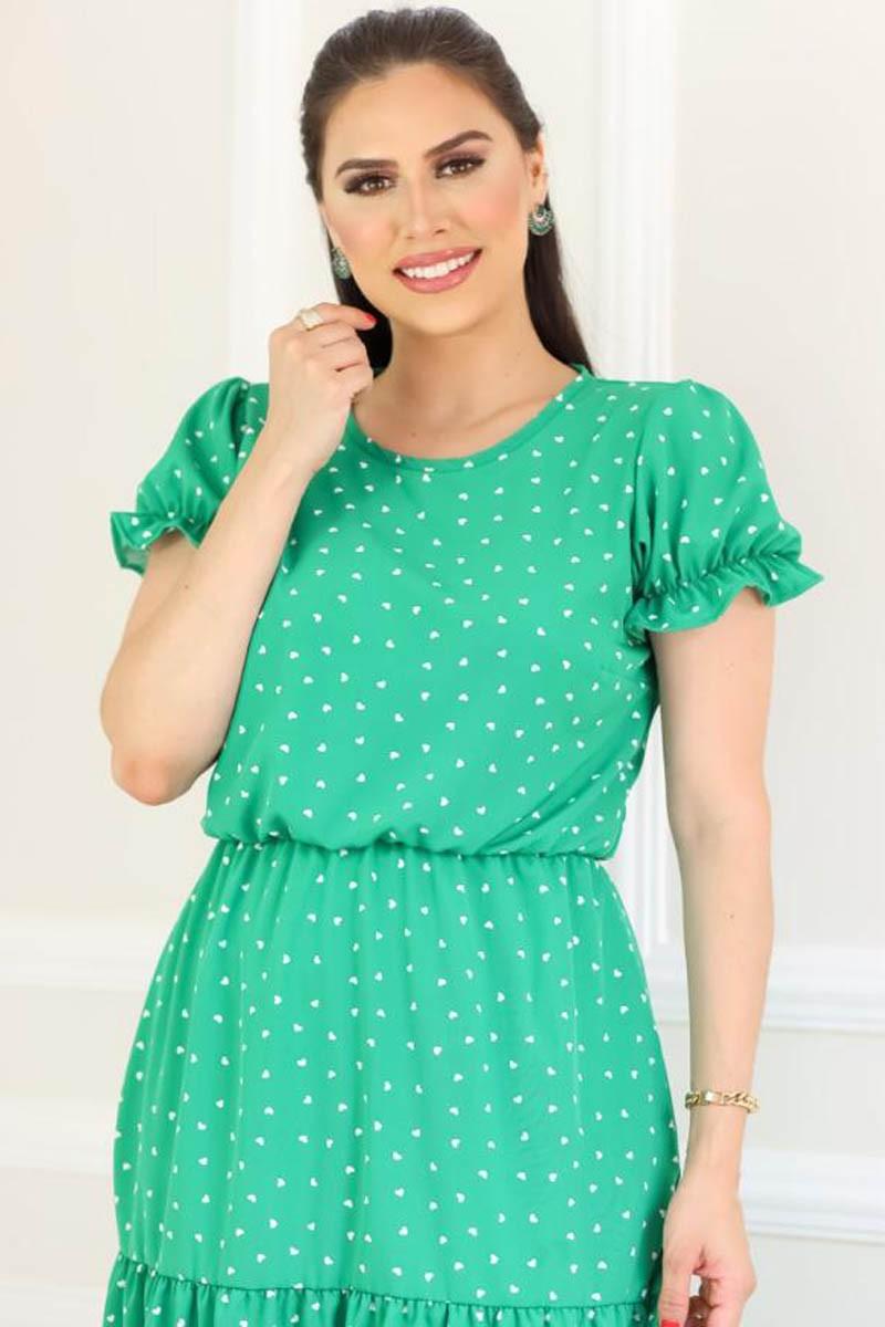 Vestido Verde Com Duas Marias Estampa Corações