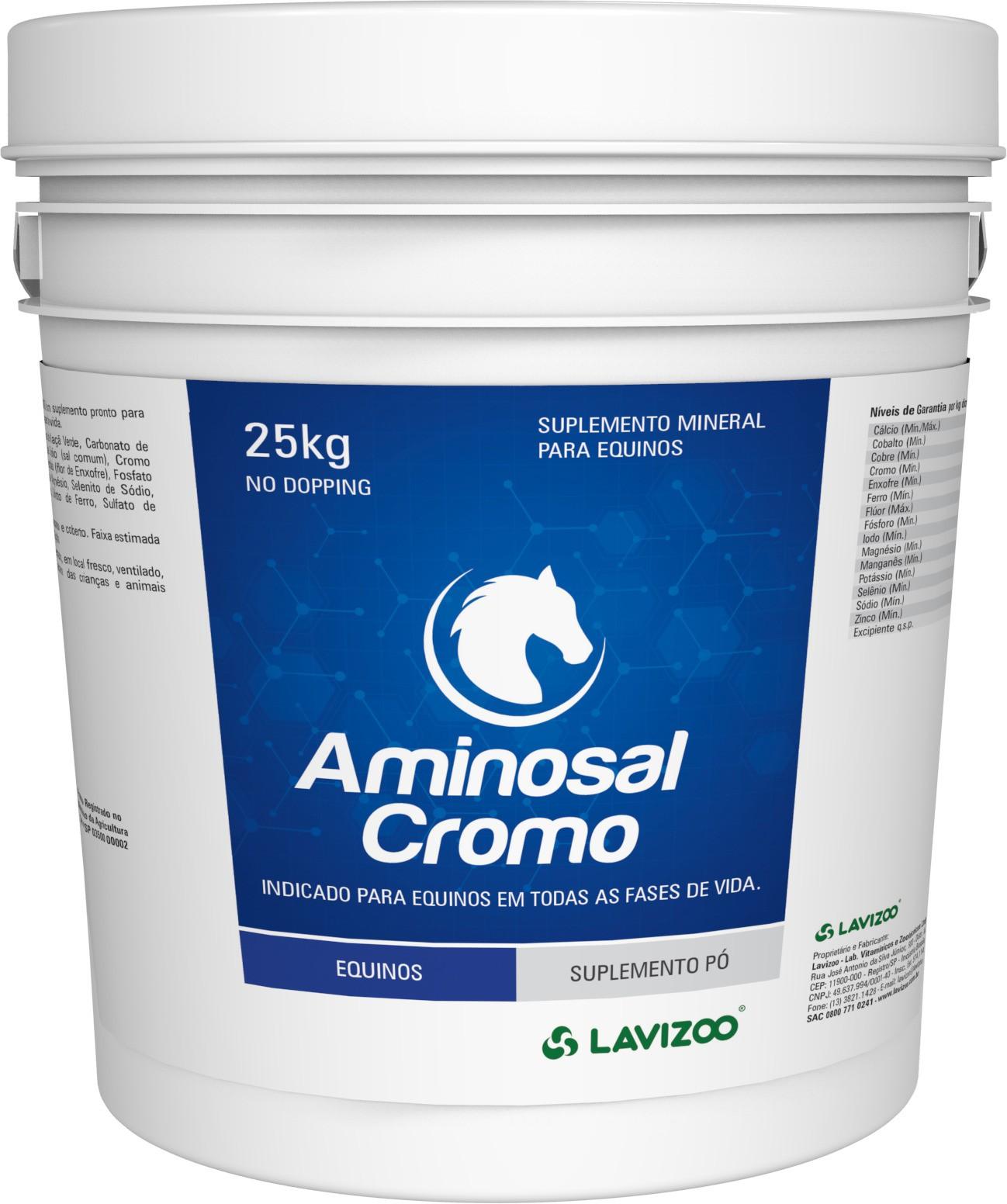 Aminosal Cromo 25kg Lavizoo - Suplementação Equina