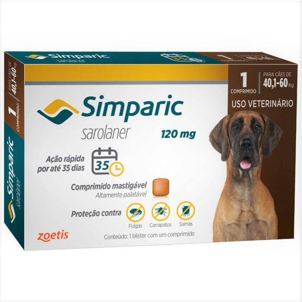 Antipulgas E Carrapatos Zoetis Simparic 120mg Para Cães 40,1 À 60kg Com 3 Comprimidos
