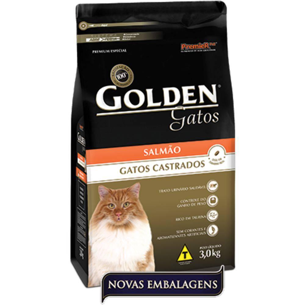 Golden Gatos Adultos Castrados Sabor Salmão 3kg