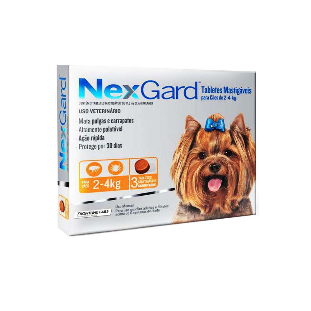 Nexgard Para Cães De 2 a 4 Kg - 3 Tabletes Mastigáveis