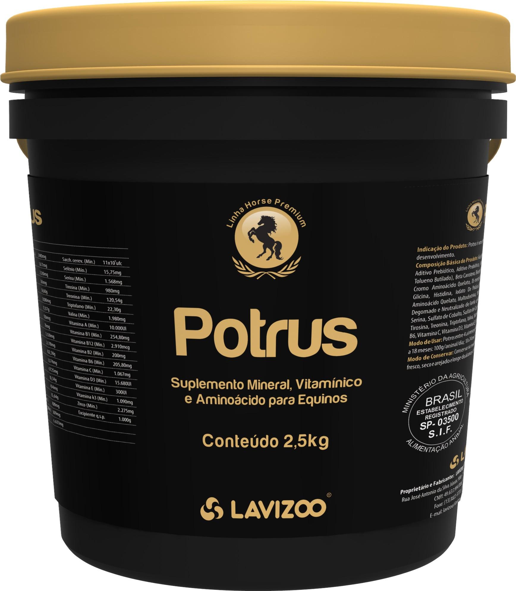 Potrus 2,5kg Lavizoo - Linha Premium  Suplementação Equina