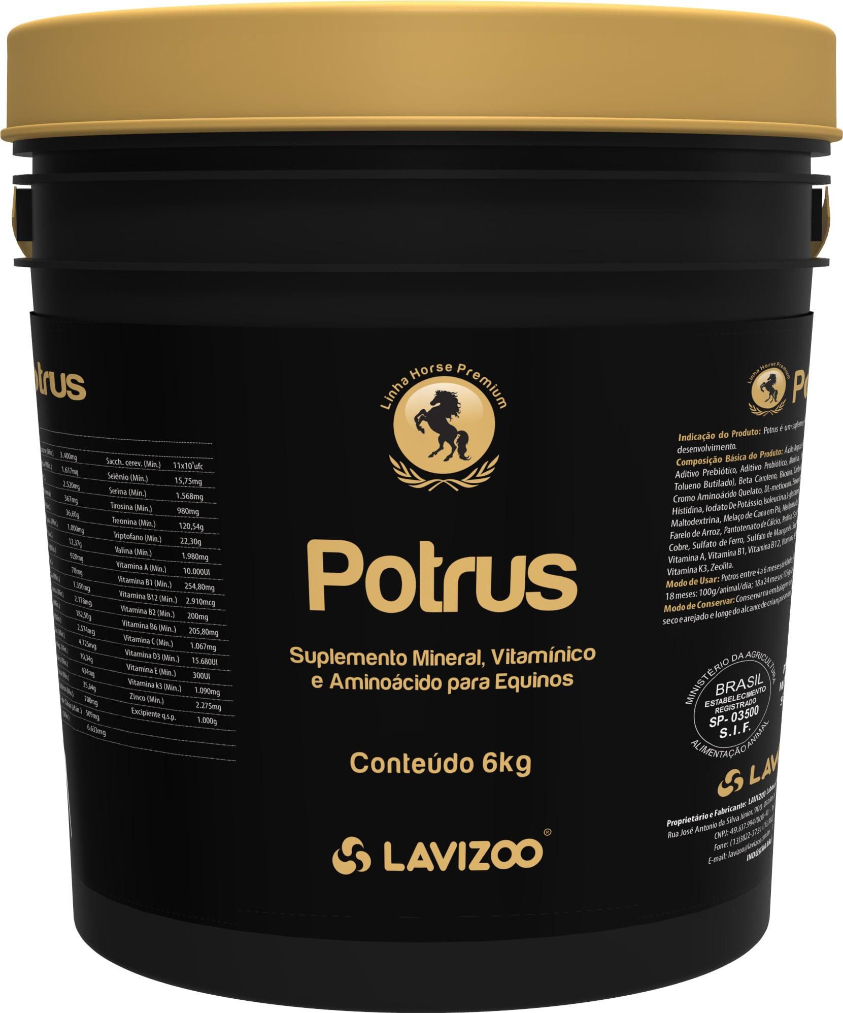 Potrus 6kg Lavizoo - Linha Premium Suplementação Equina