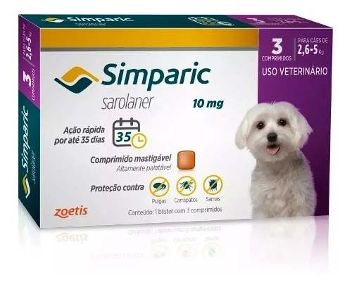 Simparic 10mg Antipulgas 2,6 A 5kg com 3 comprimidos