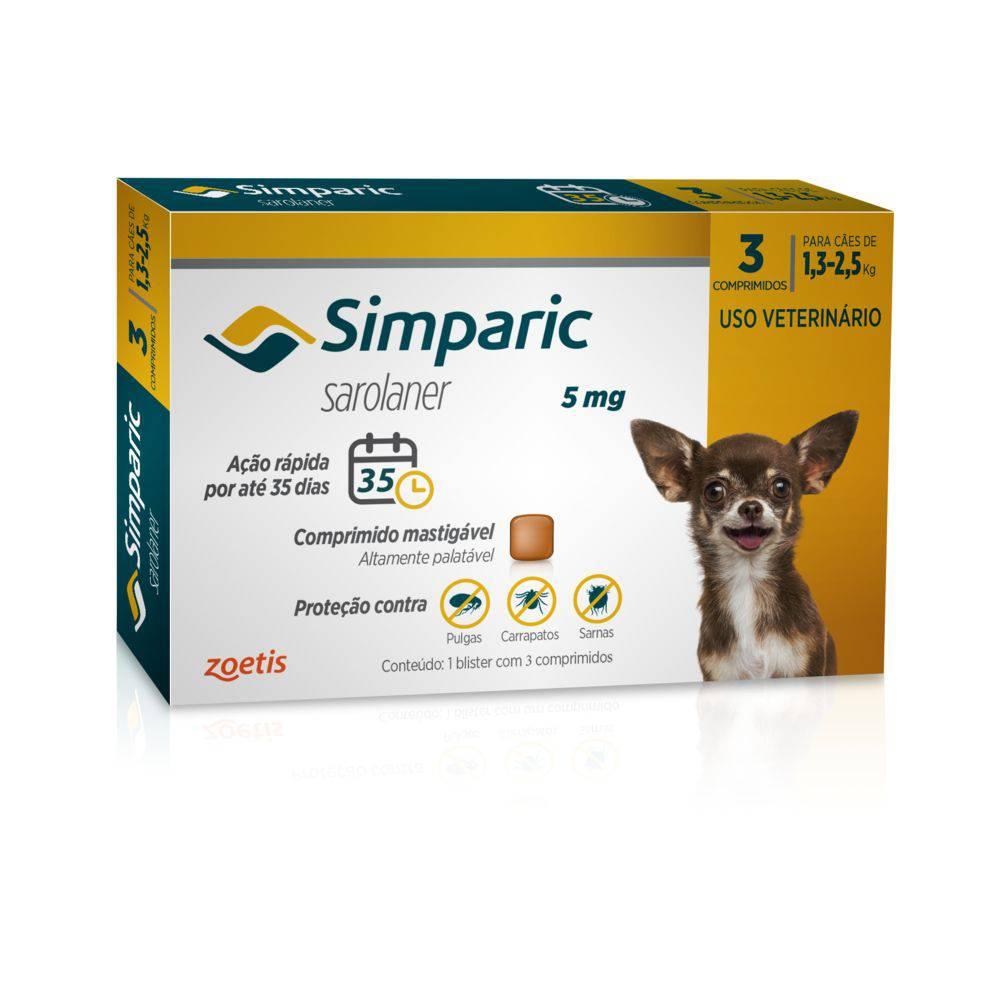 Simparic medicamento antipulgas 1,3 a 2,5kg c/3 comprimidos