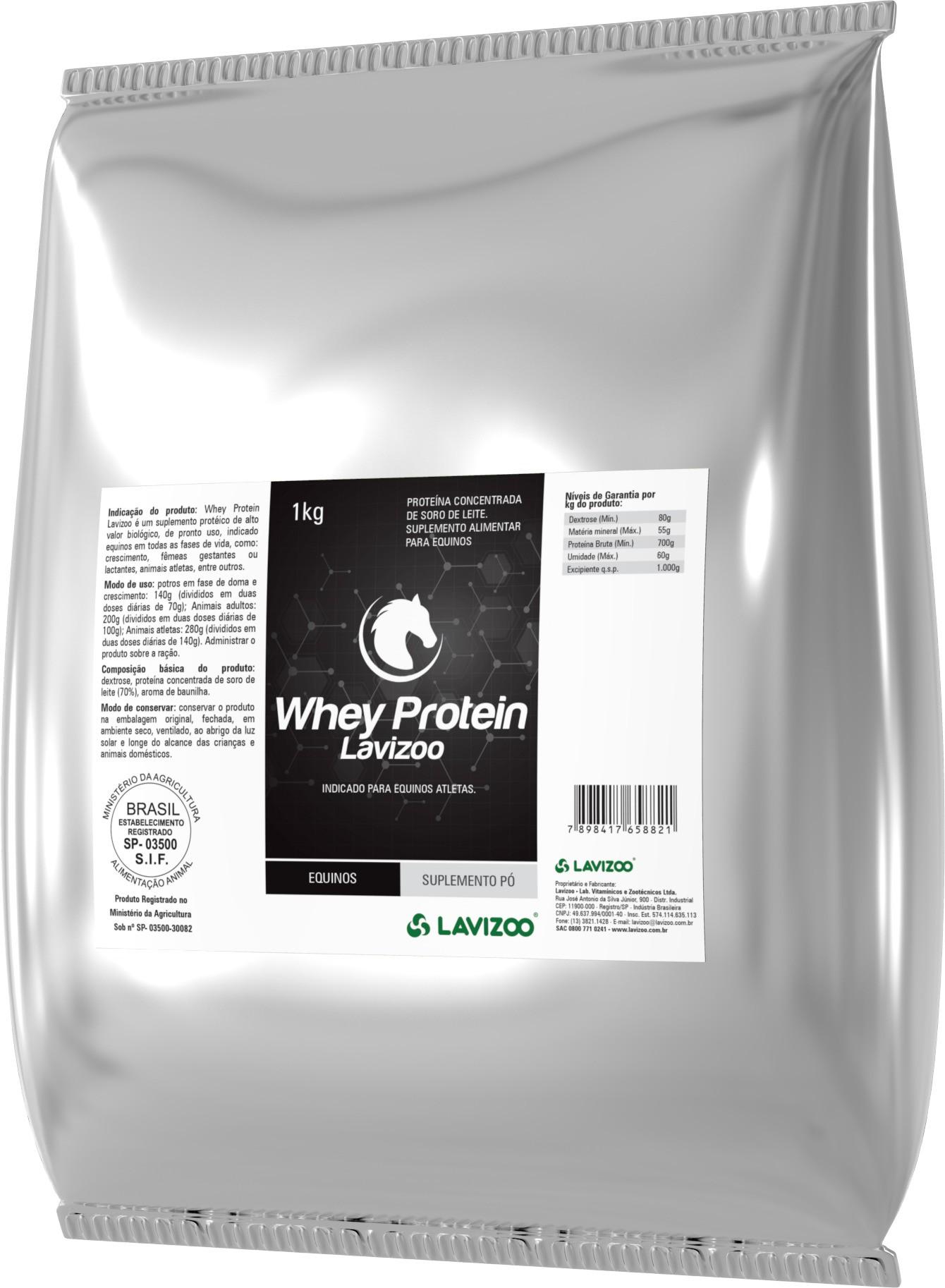 Whey Protein 1kg Lavizoo - Suplementação Equina