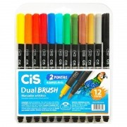 Caneta Cis  Aquarelavel  Dual Brush - 12 cores