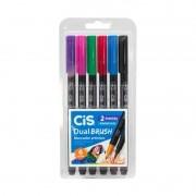 Caneta Aquarelavel CIS Dual Brush - 6 cores