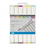 Caneta Cis Graf Duo  com 6 - Pastel