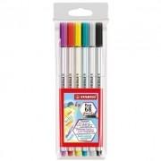 Caneta Stabilo Pen 68 Brush - 6 cores